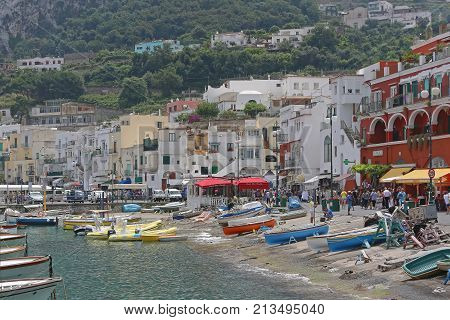 CAPRI ITALY - JUNE 26 2014: Tourists Walking at Capri Island Italy.