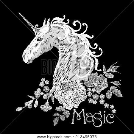 Embroidery white floral pattern with dog roses and forget me not flowers. Unicorn fantasy fairytale dream vector traditional folk fashion ornament on black background art