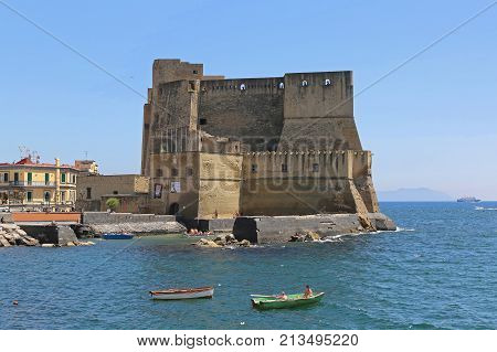 NAPLES ITALY - JUNE 22 2014: Castel dell Ovo Fortification in Naples Italy.