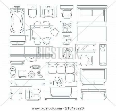 Top view of different furniture set for layout of the apartment. Vector mono line pictures set. Linear apartment house plan, bedroom and kitchen illustration