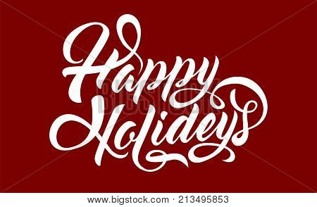 Happy Holidays calligraphic text on blue background.