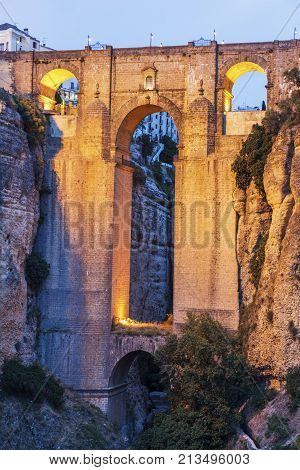 Puente Nuevo and El Tajo Gorge in Ronda. Ronda Andalusia Spain.