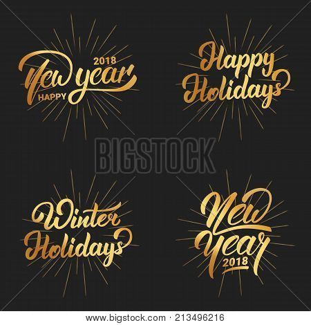 New Year. Happy New Year 2018 hand lettering labels set with gold shiny texture. Hand drawn logo for New Year card, poster, design etc.