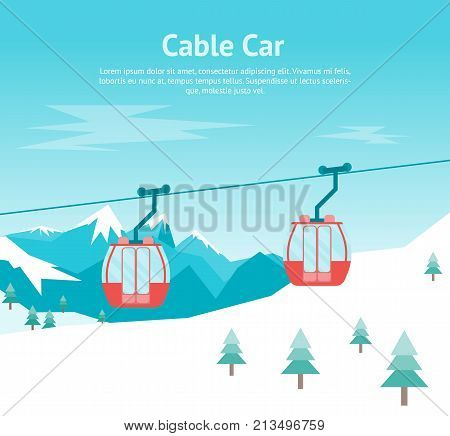 Cartoon Car Cabins Cableway in Mountains Card Poster Flat Style Design Equipment Winter Tourism. Vector illustration