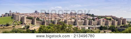 Panoramic view of Avila. Avila Castile and Leon Spain.