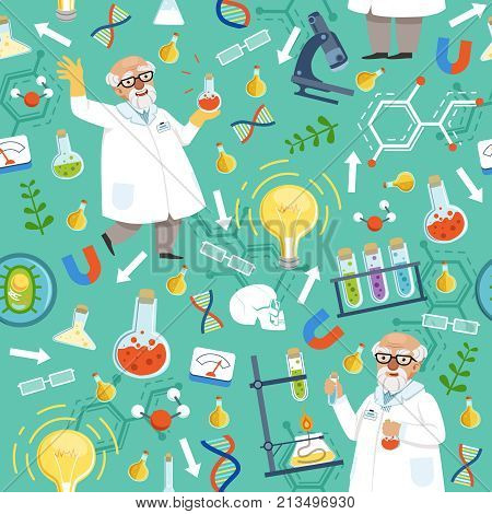 Different chemical or biological tools. Professor of medicine. Vector seamless pattern medical with chemical laboratory experiment illustration