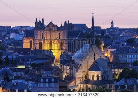 Panorama of Poitiers with Cathedral of Saint Peter at sunset. Poitiers Nouvelle-Aquitaine France.