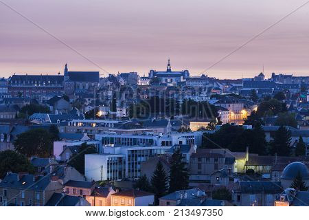 Panorama of Poitiers with city hall at sunset. Poitiers Nouvelle-Aquitaine France.
