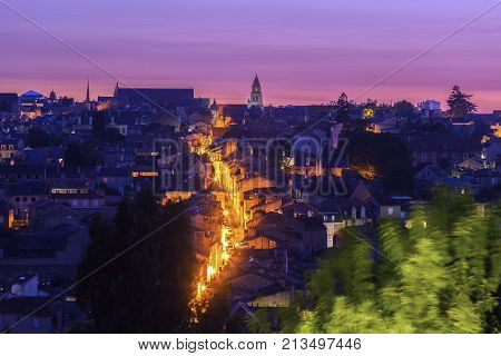 Panorama of Poitiers at sunset with Notre-Dame la Grande Church. Poitiers Nouvelle-Aquitaine France.