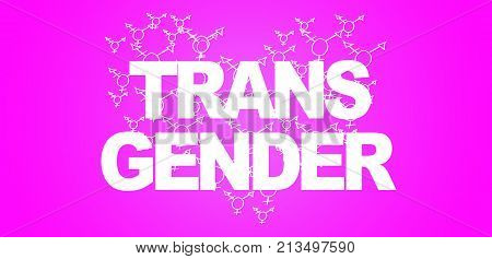 TEXT TRANSGENDER with heart filled with transgender symbols on violet