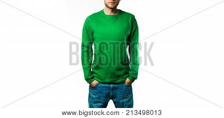 man stand in the Blank green hoodie sweatshirt on a white background mock up free space