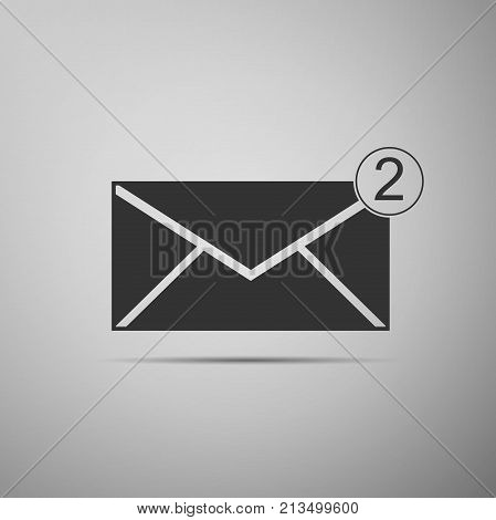 Received message concept. New, email incoming message, sms. Mail delivery service. Envelope icon isolated on grey background. Flat design. Vector Illustration