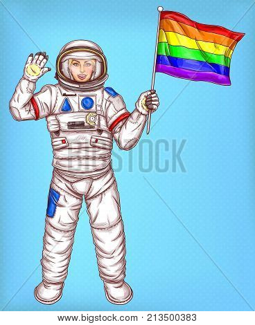 Young astronaut girl in a spacesuit sends a greeting and holds a rainbow flag symbol of LGBT, isolated on a blue. LGBTQ rights protection, protest against discrimination pop art vector illustration