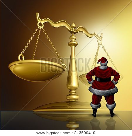 Christmas law and winter holiday legal issues as santa claus standing in front of a justice scale with 3D render elements.