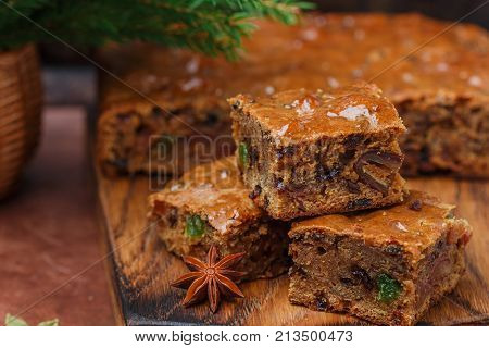 Fruitcake With Raisins, Dates, Candied Citrus, Honey, Cinnamon, Anise And Cardamom. Homemade Christm