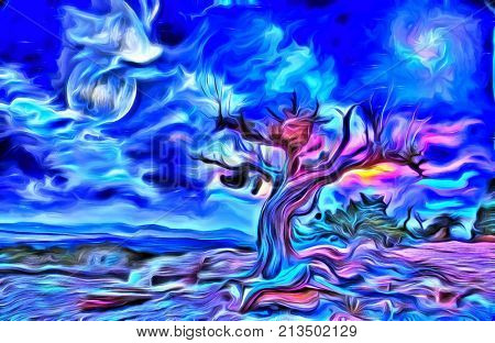 Surreal digital painting. Old tree, full moon and mystic clouds in the sky. 3D rendering.
