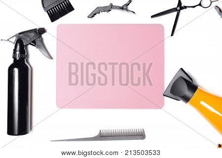 Hairdressing tools. Scissors hair dryer brush. Top view. Copyspace. hair restoration concept