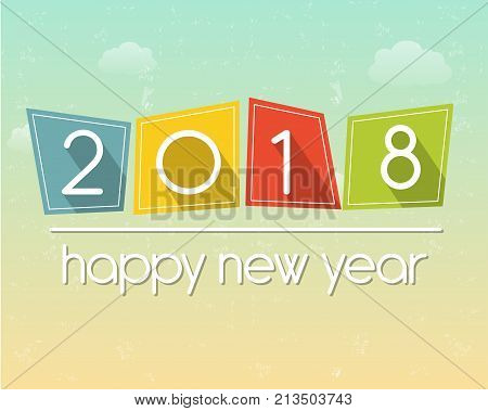 happy new year 2018 in flat colored tablets over cloudy sky background holiday seasonal concept