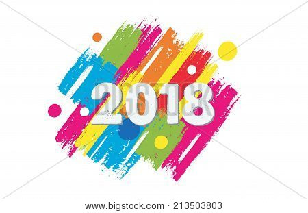 happy new year 2018 in colorful drawn banner holiday concept
