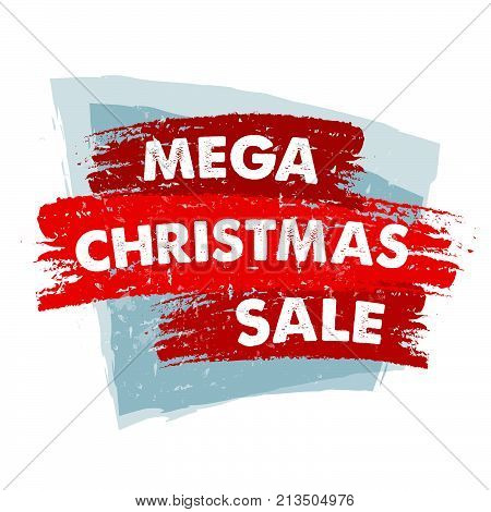 mega christmas sale - text in red blue drawn banner, business holiday shopping concept, vector