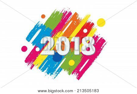 happy new year 2018 in colorful drawn banner, holiday concept, vector