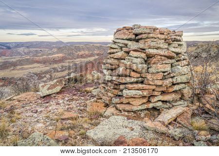 stone cairn on Cheyenne RIm  in Red Mountain Open Space, fall scenery