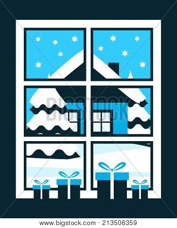 vector gifts in the window and snowy landscape outside the window