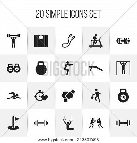 Set Of 20 Editable Healthy Icons. Includes Symbols Such As Jump Training, Crossbar, Gauntlet And More
