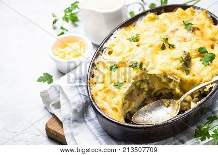 Gratin or Casserole from fish pasta broccoli and cheese in bechamel sause. View with copy space.