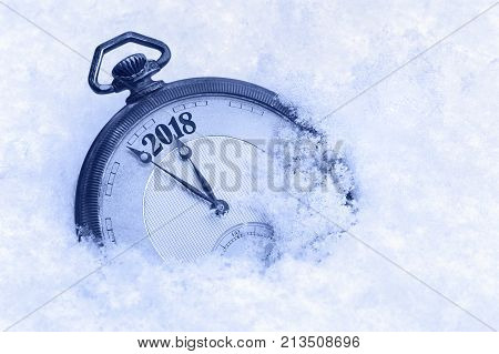 New Year 2018 greeting card 2018 new year pocket watch in snow happy new year concept