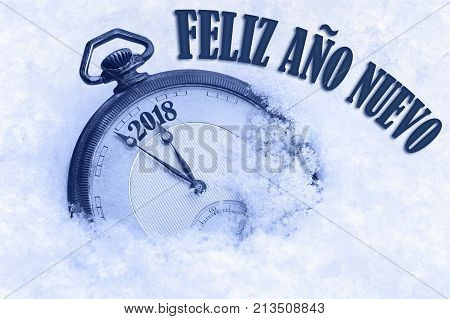2018 greeting Happy New Year in Spanish language Feliz ano nuevo text