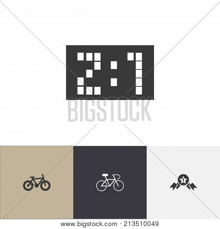 Set Of 4 Editable Mixed Icons. Includes Symbols Such As Velocipede, Award, Result And More