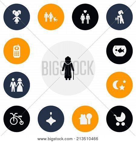 Set Of 13 Editable Relatives Icons. Includes Symbols Such As Girl, Beloveds, Spinner And More
