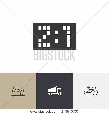 Set Of 4 Editable Complicated Icons. Includes Symbols Such As Result, Velocipede, Dumbbell And More