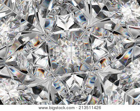 Diamond Closeup And Kaleidoscope Pattern