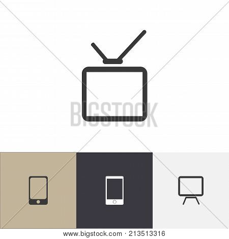 Set Of 4 Editable Instrument Icons. Includes Symbols Such As Telephone, Smartphone, Telly And More