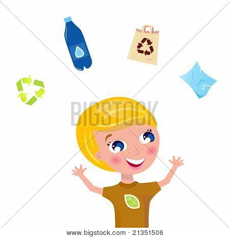 Little Boy Support Recycling Isolated On White.