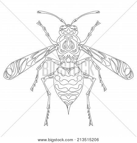 Icon of wasp doodle silhouette. Vector illustration.