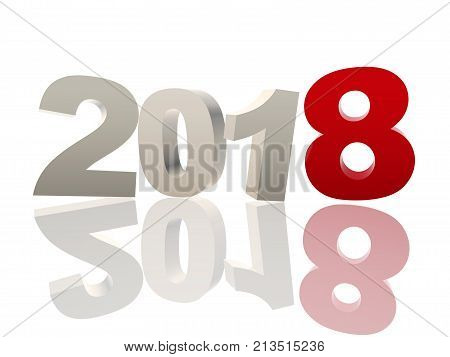 new year 2018 of 3d color ciphers with reflection over white background holiday seasonal concept