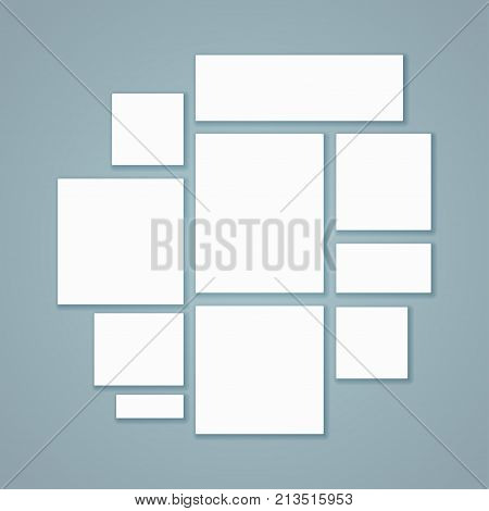 Blank white 3d paper canvas or photo frames posters mockupsin gradient background. Presentation photography portfolio illustration of creativity portfolio exhibition