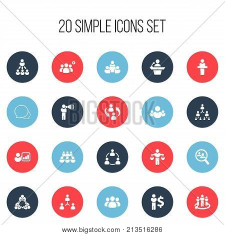 Set Of 20 Editable Business Icons. Includes Symbols Such As Talking Man, Commander, Introducing