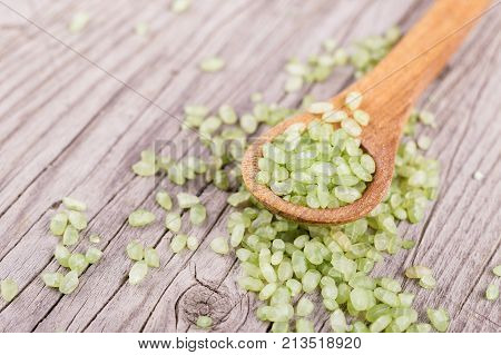 Bamboo Or Jade Pearl Rice In A Spoon