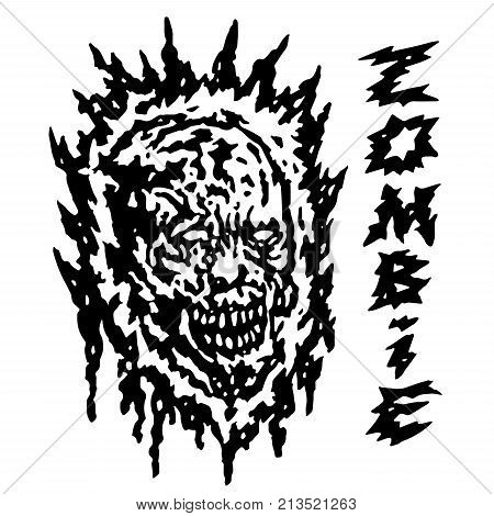 Creepy demon head. Vector illustration. Black and white colors. Horror genre.
