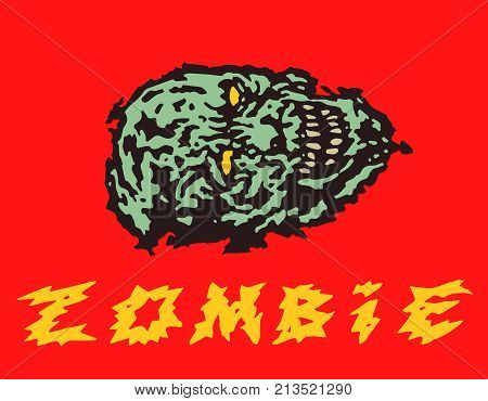 Creepy green zombie head. Vector illustration. Genre of horror.