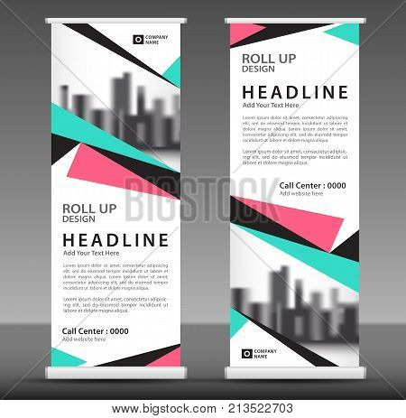Blue-pink Roll Up Banner Template, Triangle Modern Background With City