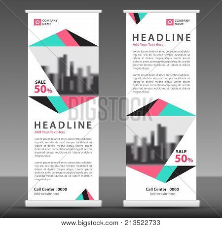 Blue-pink Roll Up Banner Template. Pull Up Layout. Business Brochure Flyer. Poster. Stand Out. X-ban