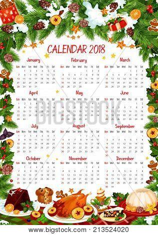 2018 Calendar Template Christmas Vector Photo Bigstock