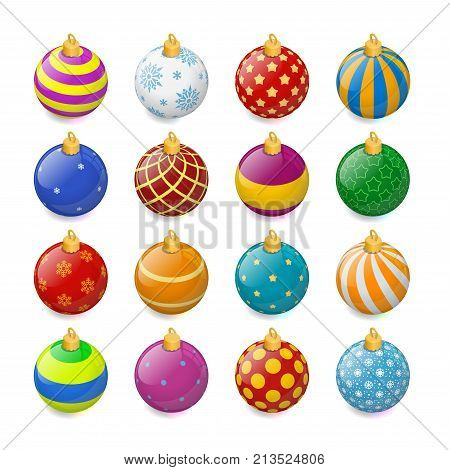 Set of isometric color Christmas balls on a transparent background. Stocking Christmas decorations. Stocking element New Years. Transparent vector object for design, mock-up