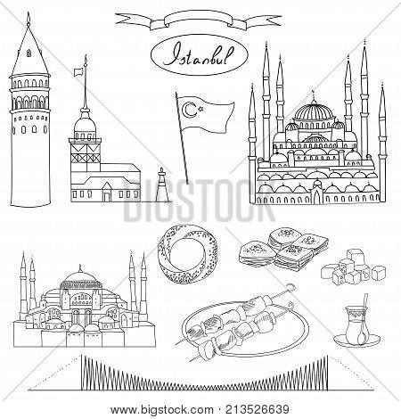 Black and white Istanbul tourist isolated object vector set. Galata Tower, Maiden's Tower, Blue Mosque, Hagia Sophia, Bosphorus Bridge, Simit, Baklava, Turkish Delight, Tea, Kebab, Turkish flag.