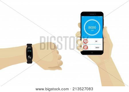 Fitness bracelet on hand with smartphone infographic. Heart rate tracker. Rubber wristband. Watch monitor OLED display. Vector. Fitness Tracking. Mobile tracking. Steps heartbeat calories. poster